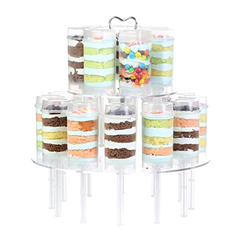 ihomecooker 3-Tier Round Acrylic Cake Push Pops Cake Stands Wedding Party Tea Serving Platter Cupcake Dessert Cake Display Stand Holder 18 Holes -
