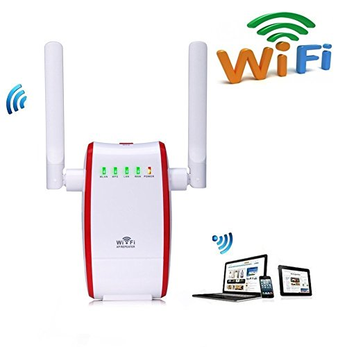 Ameky 300Mbps WiFi Router Long Range Extender Wireless Repeater Signal Booster Mini AP Network Amplifier with Antennas RJ45 WAN + LAN Port Support Wired Internet Connection WPS Protection(Red)