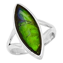 Natural Ammolite Ring Solid 925 Sterling Silver Jewelry Size 6.75 IR36217