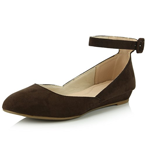 DailyShoes Women's Fashion Adjustable Ankle Strap Buckle Pointed Toe Low Wedge Flat Shoes, Brown Suede, 12 B(M) US