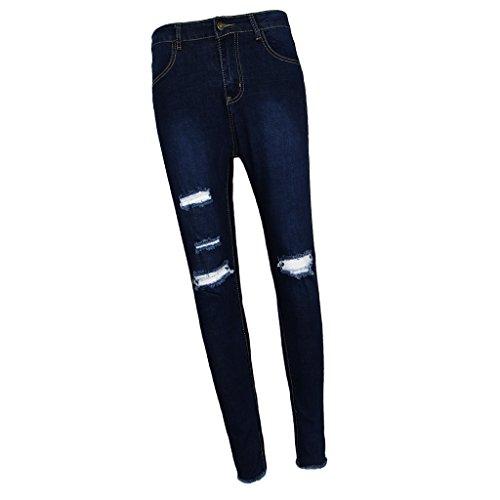 Leggings Sfrangiati Jeans Elastica Donna Pantaloni Sharplace Dettagli Blu A6z84qfn