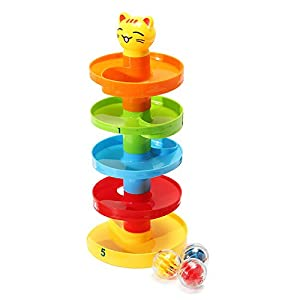 Hulk Racetrack - Stack Layer Tower Ramp Billowed Roll Ball Bell Toy Set Infant Developmental Educational - Datum Chase Rail Column Path Pass Cut Pillar Raceway Cartroad Running - 1PCs