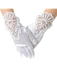 Waboats Flower Girl Embroidered Lace Glove Wedding Gloves Performance Pageant White L