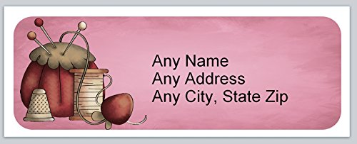 120 Personalized Address labels Primitive Country Sewing needles and thread (ac (Sewing Address Labels)