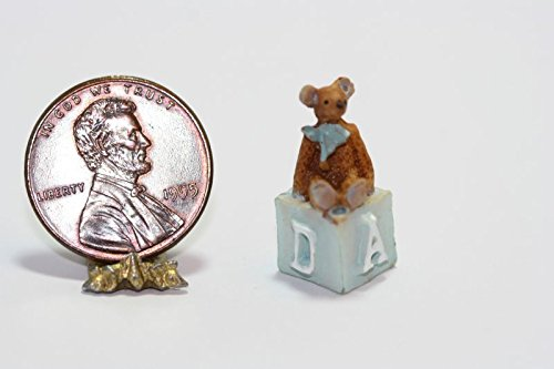 Dollhouse Miniature - Resin Teddy Bear Sitting on a Blue Alphabet Childrens Block from Dollhouse Miniature