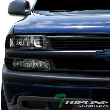 Topline Autopart Black Housing Head Lights Headlights + Turn Signal Bumper Parking Lamps Amber DY V2 For 99-02 Chevy Silverado ; 00-06 Tahoe / Suburban Chevy Suburban Euro Headlights