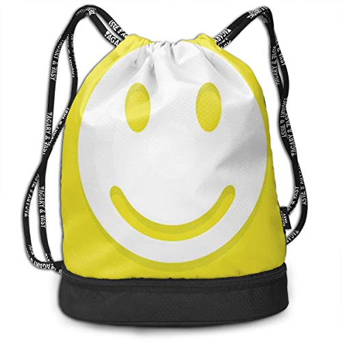 Drawstring Backpack bags, Rise Wake Uo Positive Optimistic Life Message Big Smiley Happy Face Artwork