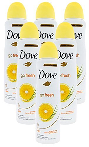 Improved Formulation Go Fresh Dove Anti-Perspirant Deodorant Spray Grapefruit & lemongrass Scent (6 (Lemongrass Deodorant)