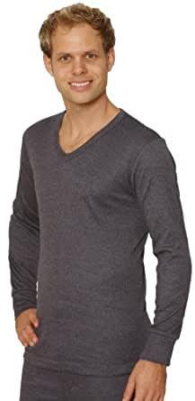 Octave 3 PACK Mens Thermal Underwear Long Sleeve 'V'-Neck T-Shirt/Vest / Top [Charcoal, Small]