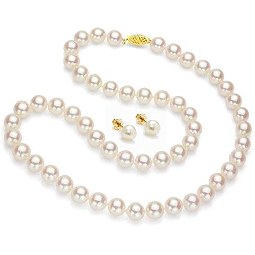 - Lily Treacy Japanese Akoya Pearl Necklace Strand 14K gold clasp 18