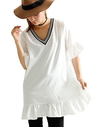 どう?もっともらしい有効な(Goldjapan) ゴールドジャパン 大きいサイズ レディース カットソー Tシャツ ブラウス チュニック 半袖