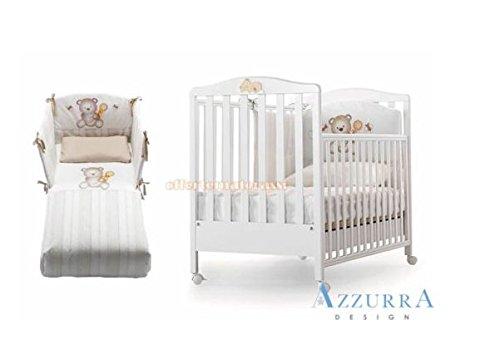 Kinderbett Azzurra Design Web weiß mit Dekor + Set Textil dolcemiele koordiniert