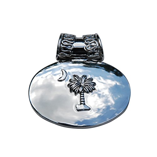 South Carolina Silver Palmetto Moon Tree Domed Oval Slide Pendant w/Decorative Bale for Choker Necklace