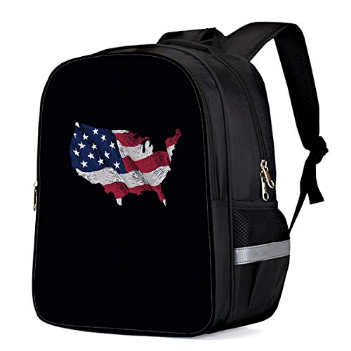Patriotic American Flags Students Backpack for School Bookbag Casual Shoulder Daypack Travel Back Pack Bags for Teen Boys Girls, Black Background Loyalty Symbol
