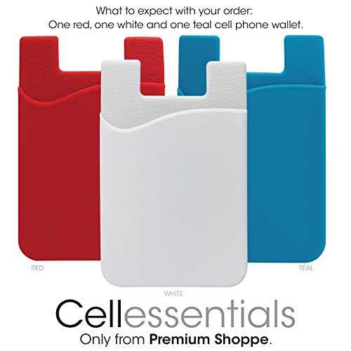 Red Rubber Cell Phone - Cellessentials Card Holder for Back of Phone - Silicone Stick on Cell Phone Wallet with Pocket for Credit Card, ID, Business Card - Iphone, Android and Most Smartphones - 3 Pack(Red,White,Blue)