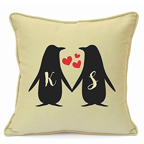 Personalised Presents Gifts for Him Her Husband Wife Couples Boyfriend Girlfriend Wedding Anniversary Valentines Day Christmas Xmas Love Penguins Initials Cushion Cover 18 Inch 45 cm Home Decor