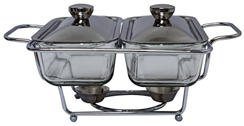 Royal Brands Stainless Double Glass Chafing Dish 1.3 Liter Buffet Serving Chafer Food Pan (Double Chafing Dish)