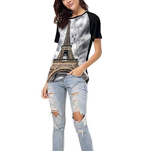 Women's Summer Short Sleeve - Paris Cloud Day Casual Raglan Tee Baseball Tshirts Tops Blouse XL Black]()