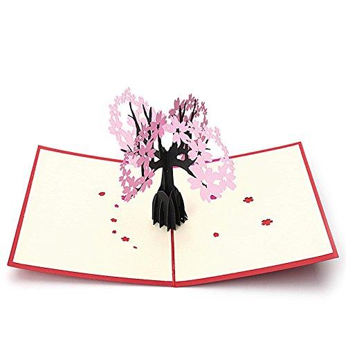 Kofun Cartolina di auguri con busta, nuove carte compleanno anniversario di matrimonio pop up 3D fiori biglietti d' auguri