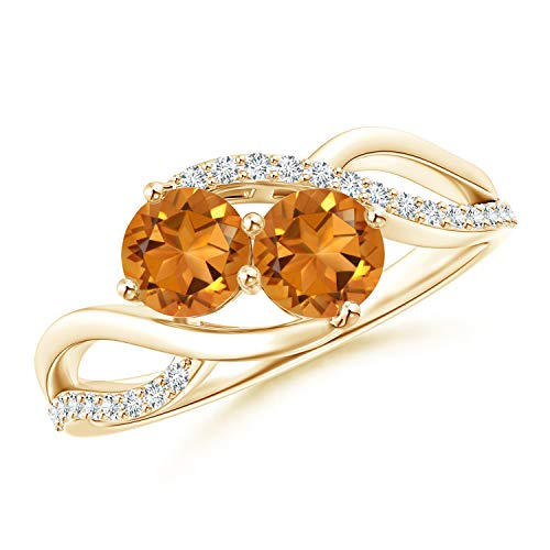 Round Citrine Two Stone Bypass Ring with Diamonds in 14K Yellow Gold (5mm Citrine) (Bypass Two Stone Ring)