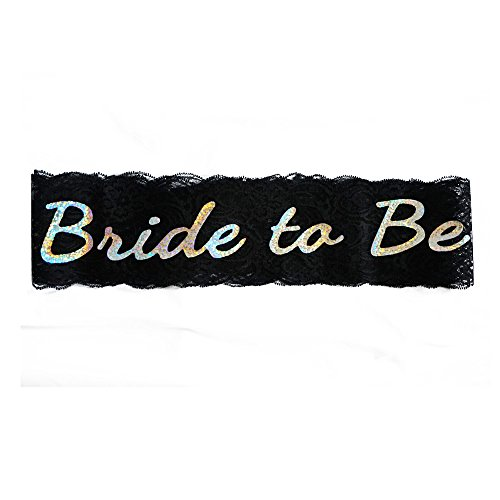 !8 Fun Hen Party Sash with Heart Bachelorette Party Sash Bridal Shower Hen Party Wedding Decorations Party Favors Accessories Golden Flash Tattoos as Gift (Black) by !18FUN