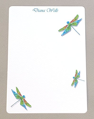 Dragonfly Trio Girl's Personalized Monogrammed Flat Note Cards With Envelopes, Women's Custom Monogram Garden Stationery Set, Contemporary Stationary, Thank You ()