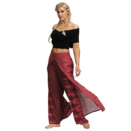 Flare Palazzo Wide Leg Pants,Londony Women's Palazzo Pants with Pockets - High Waist - Solid and Printed Designs Red