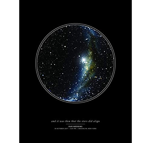 (Personalized Night Sky Star Map Unframed Print with Black Background)