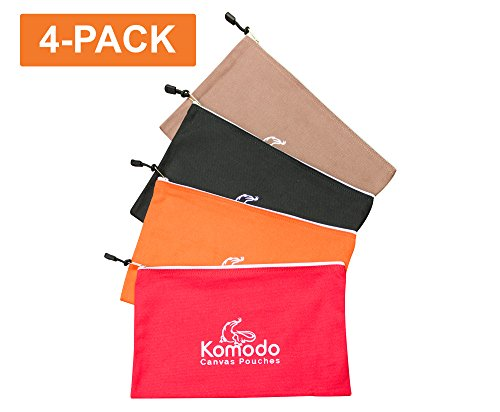 """4 Pack - Canvas Tool Bags - Pro Grade, 16 oz Heavy Duty Zipper Tool Pouches - 13"""" x 8"""" - Organize & Store Your Tools & Miscellaneous Parts. Perfect for HVAC Tools, Electricians, Carpenters, and More!"""