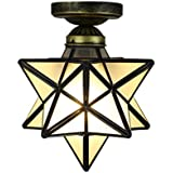 Amazon star shaped flush mount ceiling light fixtures kitchen homestia industrial copper moravian star ceiling light retro style e26 12 inch grind glass mozeypictures Gallery
