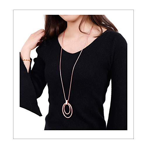 NVENF Long Sweater Chain Double Circle Pendant Necklace Bold Snake Chain Women Statement Necklace (Rose Gold) ()
