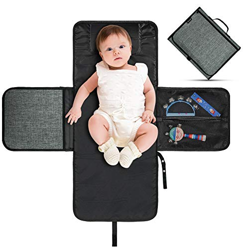 VOLADOR Baby Diaper Changing Pad Portable, Infant Nappy Changing Mat Clutch for Travel, Foldable Baby Changing Station with Head Cushion, Extra Large – Waterproof – Lightweight