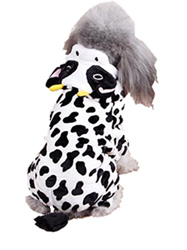 [Dreaman Cute Pet Dog Cat Clothes Funny Puppy Dairy Cow Costume Hoodie Dress White (XXL)] (Elvis Costumes For Dogs)