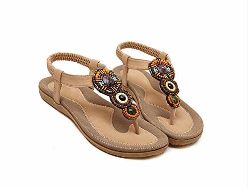 Wind Plano De Mujer Mujer Zapatos de De Flops Verano Zapatos Tablilla Sandalias Flip Fondo Suave National Dedo GTVERNH Verano color Fondo Apricot nq4PHxH8