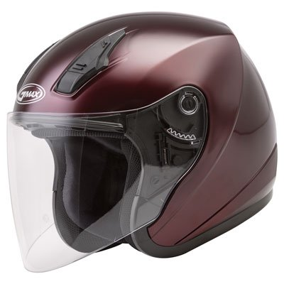 Helmet Wine Red (Red, Medium) (Red Gm17 Open Face Helmet)