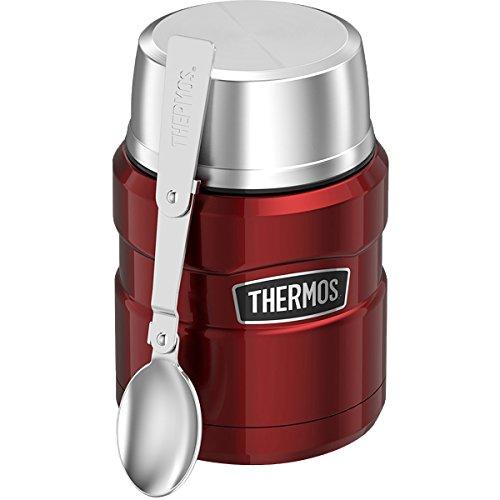 Thermos King Vacuum Insulated Food Jar w/Folding Spoon-16 oz. -Stainless Steel Cranberry, 2.3