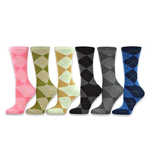 TeeHee Women's Ladies Value 6-Pack Crew Socks (Argyle)