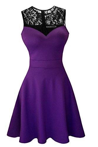 Sylvestidoso Women's A-Line Sleeveless Pleated Little Purple Cocktail Party Dress with Black Floral Lace (XS, Purple)