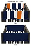Sweet Jojo Designs Baby Crib Side Rail Guard Covers for Modern Navy Blue and Orange Stripe Bedding Collection