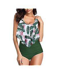 dc3fe25cec8 Womens Floral Printed Ruffle High Waisted Bikini Set Womens Tummy Control Bathing  Suit Swimsuit Flounce Peplum