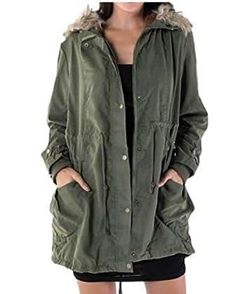 Amazon.com: heymoney Womens Winter Faux Fur Lined Hooded Warm Parkas Wool Jacket Outwear: Clothing