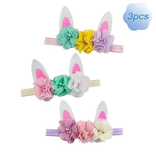 Baby Bunny Headband Easter Lovely Rabbit Ear with Flowers Birthday Gift 3pcs