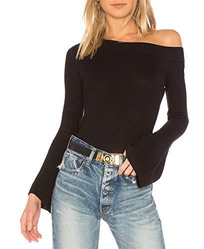 cmz2005 Women One Shoulder Pullover Sweater Flared Bell Sleeves Slim Knit Jumper 8088 (M, Black) ()