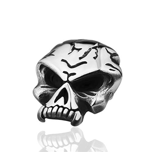 Davitu Trendy DIY Beads Skull Charms fits for Leather Necklaces Charms for Women Men Accessories Stainless Steel Jewelry 40-90cm Metal Color: skull2.5, Length: 40cm