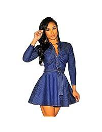 Changeshopping Sexy Women Romper Long Sleeve Denim Dress