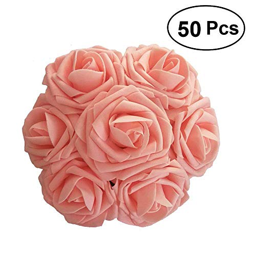 Lmeison Artificial Flower Rose, 50pcs Real Looking Artificial Roses w/Stem for Bridal Wedding Bouquets Centerpieces Baby Shower DIY Party Home Décor,Pink