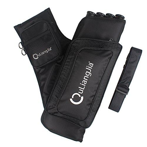 Krayney Archery 4 Tubes Hip Arrow Quiver Waist Hanged Carry Bag with Pockets Adjustable Belt