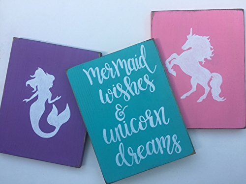 Amazon Com Mermaid Bedroom Decor Unicorn Bedroom Wall Art Mermaid Wishes Unicorn Dreams Handmade