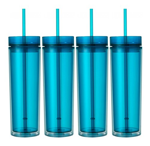 - Set of 4 Double Wall Skinny Acrylic Tumblers 16 Oz, with Straws (Aqua)