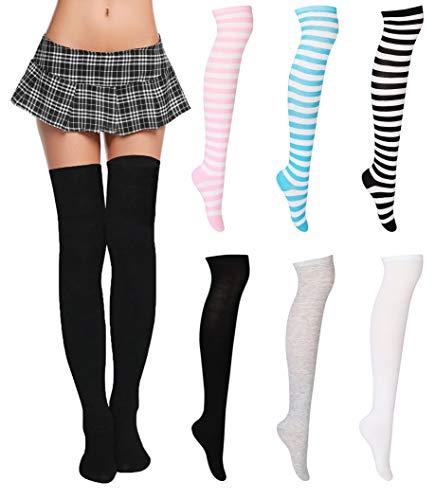 c8eddb786c154 ... FIBO STEEL 6 Pairs Long Thigh High Socks for Women Girls Striped Knee  High Leg Warmers